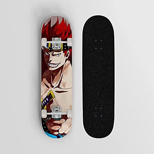 Anime Skateboard para una Pieza eustass niño Rojo Pelo Mini Crucero 7-Capa Arce Cubierta patineta Saltando 100 kg Principiante Camino Calle Scooter Vacaciones