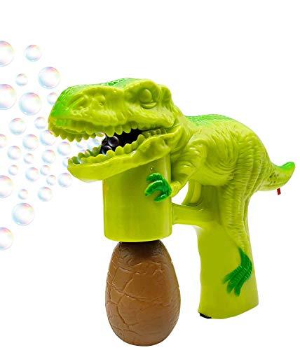 Bubble Gun Bubbles for Toddlers Dinosaur Bubble Blower with 8 oz Bubbles Green