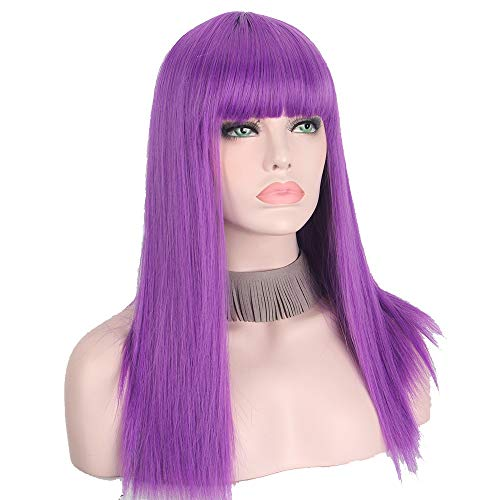 LianHongTouZiGuanLi Mujer Pelucas Rectas largas sintéticas Fangers Planos Naturales para Las Mujeres Cosplay Peluca Púrpura Color (Color : Purple, Stretched Length : 20inches)