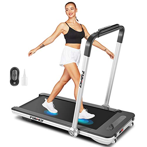 Folding Treadmill, 2-in-1 Under-Desk Treadmill for Home, Office, Gym. Compact Jogging/Running Machine with Remote Control, Bluetooth Speaker and LED Display,No Assembly Needed (Silver)