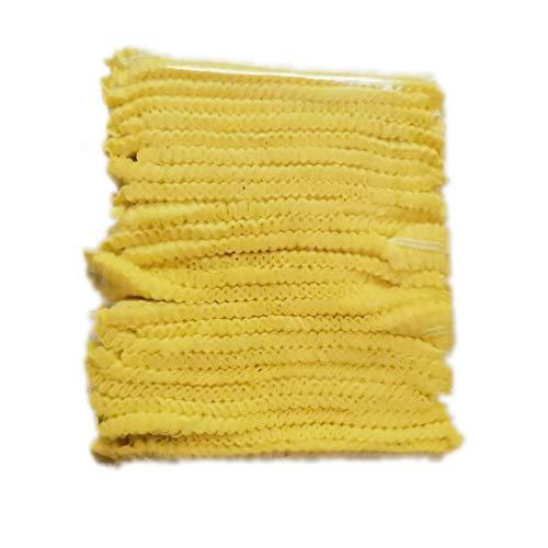 Einweg-Kappen, Mob-Kappen, Haarnetz-Kappen, elastisch, Einheitsgröße, für Kosmetik, Schönheit, Küche, Kochen, Heimindustrie, Krankenhaus (gelb)