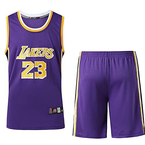 Wsaman Chaleco Deportivo para Gimnasio, 23# Vintage Jersey, No.23 Camiseta de Baloncesto para niños Hombres, Jersey Summer NBA Sports Uniformes,Purple a,XXL