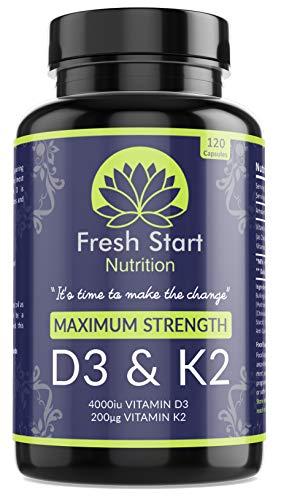 Vitamin D3 4000 IU and Vitamin K2 200μg MK7 - Vitamin D3 K2 High Strength Supplement - 120 Capsules 4 Month Supply Cholecalciferol - K2 Menaquinone-7 - Made in The UK