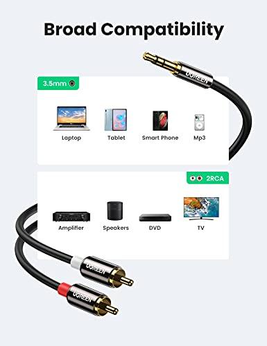 UGREEN Cable Jack a 2RCA, Cable de Audio 3.5mm a 2RCA con HiFi Sonido, Minijack a RCA Macho Audio Estéreo Cable para Móvil, Tablet, PC, Reproductor MP3, iPod, Amplificador, Altavoz, TV, DVD, 2 Metros