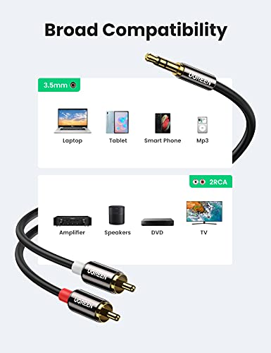 UGREEN 3.5mm to 2RCA Male Cable Audio Adapter RCA Auxiliary Hi-Fi Sound Shielded Stereo Flexible RCA Y Splitter Cable Cord Metal Shell Compatible with Smartphone Speakers Tablet HDTV MP3 Player 6FT