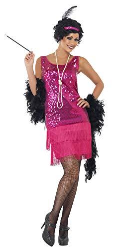 Smiffys Disfraz de chica joven divertida años 20, rosado fuerte, con vestido, tocado, collar , Modelos/colores Surtidos, 1 Unidad