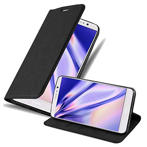 Cadorabo Hülle für Huawei Mate 9 - Hülle in Nacht SCHWARZ – Handyhülle mit Magnetverschluss, Standfunktion & Kartenfach - Case Cover Schutzhülle Etui Tasche Book Klapp Style