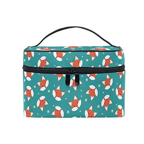 HaJie - Bolsa de maquillaje de gran capacidad, diseño de zorro de estrella, portátil, bolsa de almacenamiento de artículos de aseo para mujeres y niñas