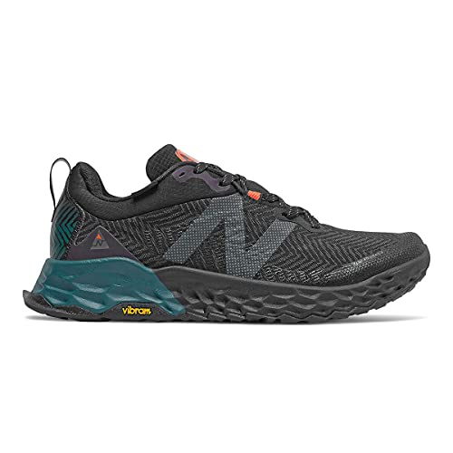 New Balance Men's Fresh Foam Hierro V6 Trail Running Shoe, Black/Mountain Teal, 4