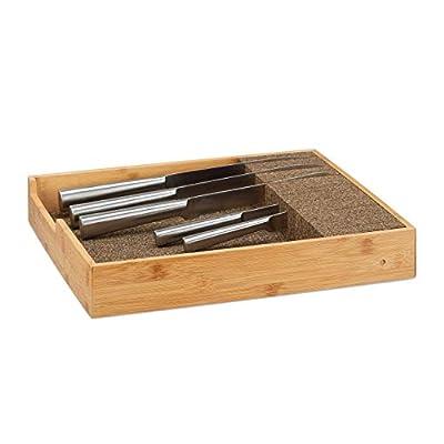 Relaxdays Bamboo Knife Holder, Drawer & Messe Storage Tray Drawer Organizer (H x W: 6,5x38x33,5cm, Natural by Relaxdays