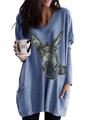 Esel Pullover Damen Lang Tier Langarmshirt Elegant Longshirt Vintage Locker Pulli Oberteil Shirts Tunika Bluse Tops Sweatshirt Langarm T-Shirt mit Tasche (Esel blau,S)