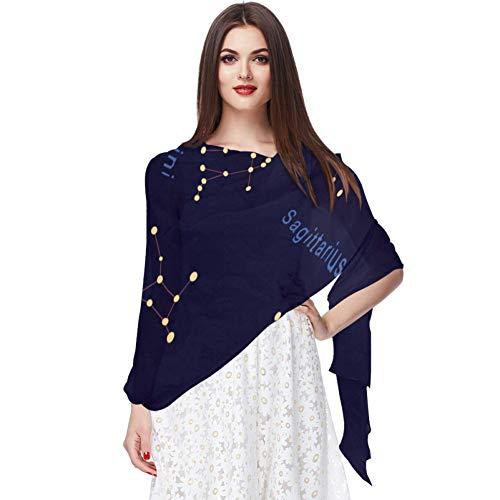 Zodiac Constellations Fond sans couture Translucide léger respirant mousseline de soie pure petite taille FemmesChâles