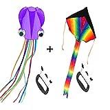 Mayco Bell Paquete de 2 Cometas: Cometa arcoíris Grande y Cometa de Pulpo para niños, Juego al Aire Libre (Púrpura)