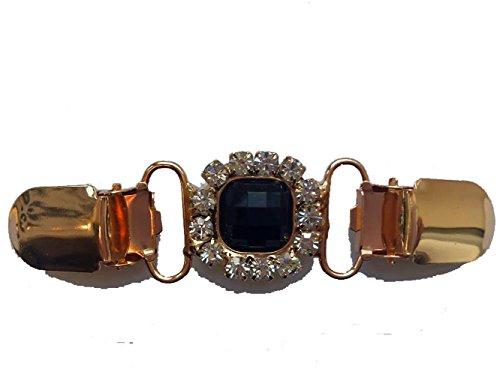 Goldtone & Black Beau ClassiClip - Clip para cárdigan