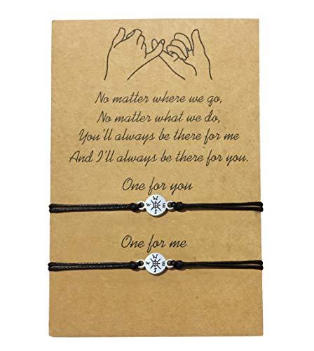 Grey Camle Friendship Bracelet for Best Friends Couple Family Adjustable Waterproof Handmade Cord Relationship Bracelets for 2 (Compass)