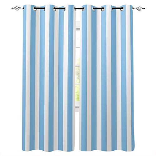 Kitchen Blackout Curtains Panels Window Treatments for Living Room Bedroom Insulated Grommet Window Curtains and Drapes,Sky Blue and White Stripe 2 Panels 52x72 Inch