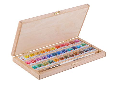 36 White Nights Watercolor Paint Set in Birch Box with a Squirrel Brush