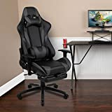 Flash Furniture BlackArc X30 Gaming Chair Racing Office Ergonomic Computer Chair with Fully Reclining Back and Slide-Out Footrest in Gray LeatherSoft
