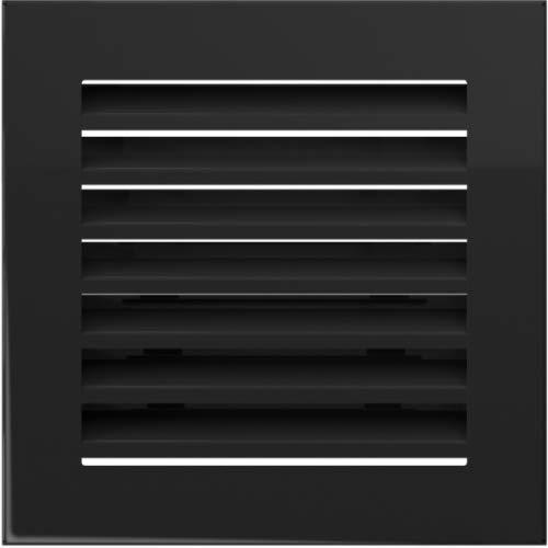 Warmluftgitter Ofen 17x17 cm Schwarz gebürstet Kaminofen Kamin Heizeinsatz