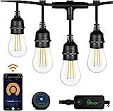 Outdoor String Lights 2 Pack – 49x2 Ft LED Patio Lights, Smart White String Lights by 2.4G Wi-Fi App & Alexa, 15x2 Bulbs Dimmable Patio String Lights Outdoor, Waterproof & Shockproof LED String Lights