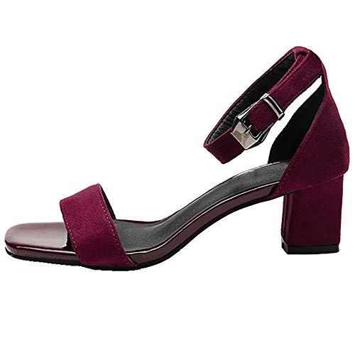 LONG-M Word-Sandalias con Tacón Alto para Mujer, Zapatos Sexys De Tacón Grueso,Winered,40