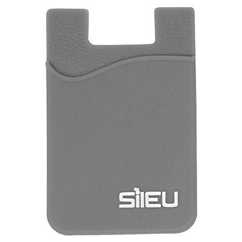 Bolsillo de Silicona Multiusos Portatarjetas con Adhesivo 3M para Movil y Cartera - Compatible con Todos los Modelos de Smartphone e iPhone - Color Gris