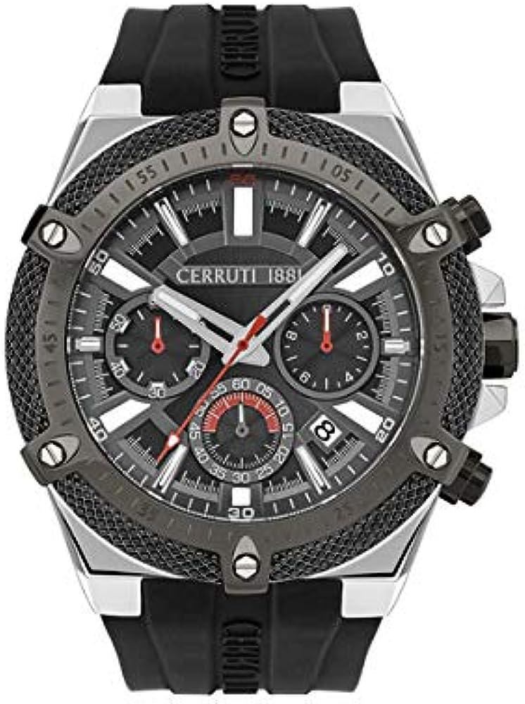 Cerruti 1881 santiago,orologio,cronografo da uomo ,cassa in acciaio inossidabile e cinturino in silicone CRA28502