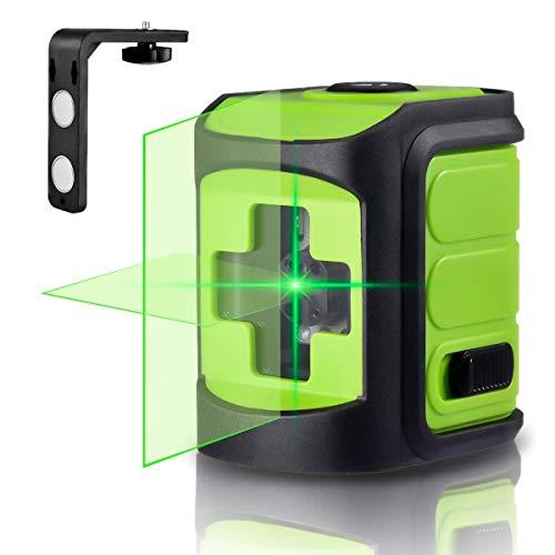 Nivel láser, Careslong 2 líneas de nivelación automática 3 * 360 línea transversal horizontal y vertical línea de rayo láser verde Nivelación y alineación IP54 a prueba de agua menos de 5nw (mini)