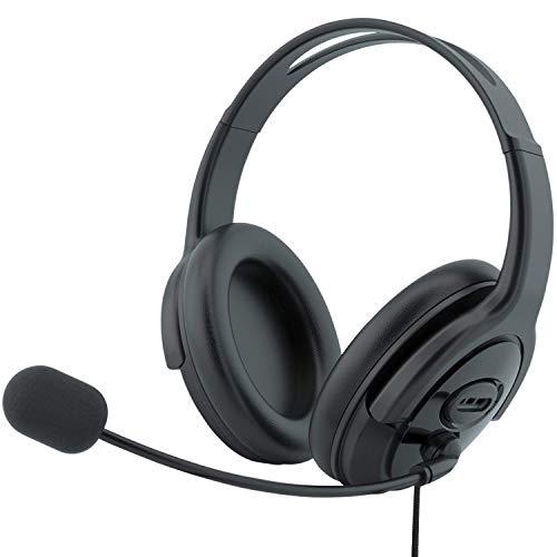 TINGDA PC Headset, USB Headset Stereo mit Noise Cancelling Mikrofon und Lautstärkeregler, Skype Kopfhörer für Business Call Center Office Telefonkonferenzen Webinar-Präsentationen Online-Kurse