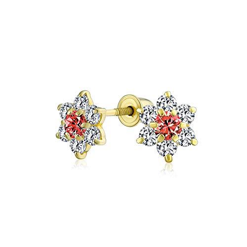 Kleine Rote CZ Blume Ohrstecker Für Damen Für Jugendlich Zirkonia Simulierten Granat 14K Gold Screwback