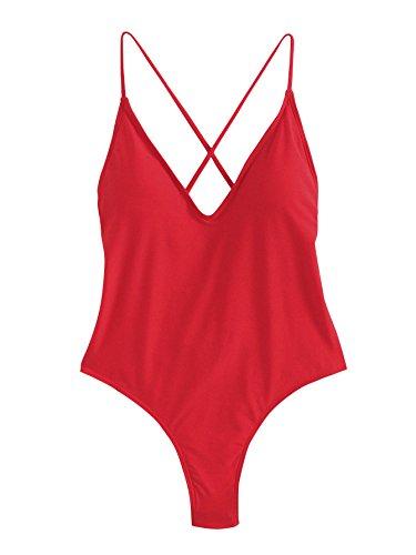 SOLYHUX Mujer Ropa de Baño Vestido de Playa Set Biquini una pieza Con Cuello En V Con Cordones Cruzados En La Espalda, Rojo TamañoM