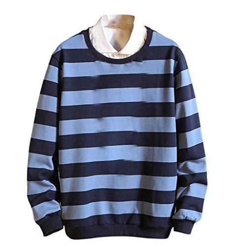 KPILP Herren Sweatshirt Langarm Tops Oberteile Rundhals Ausschnitt Pullover Mode Herbst Winter Outwear Streifen Drucken Langarmshirt Sport Casual Shirt