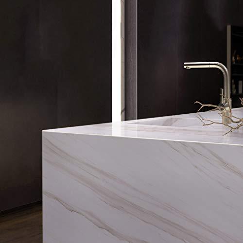 KINLO PVC Marmor Folie Klebefolie Selbstklebend Möbelfolie 0.61 * 5M Möbelaufkleber Wasserfest Folie Tapete Klebefolie für Wände Türen Möbel Dekofolie für Küchenschränke Tische Aufkleber(Weiss)
