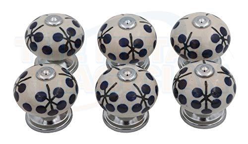 The Metal Magician - Juego de 6 pomos de cerámica para Armario, cajón o tocador Hechos a Mano y Pintados a Mano, Azul y Blanco, 40 mm.