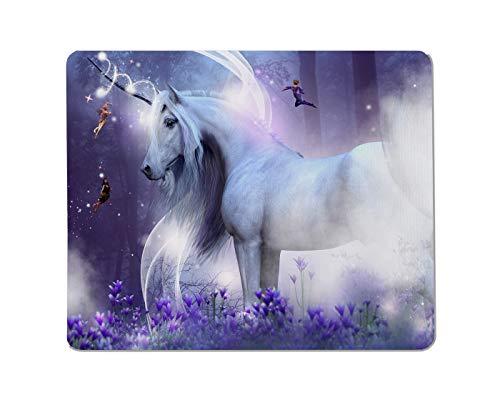 Yeuss Majestic Unicorn Tapis De Souris Rectangulaire Antidérapant Trois Petites Fées Brillent comme par Magie. Ils sont Entourés De Fleurs Violettes Et De Forêts. Tapis De Souris Gaming 200 X 240 mm