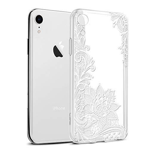Cover iPhone XR, Eouine Custodia Cover Silicone Trasparente con Disegni Ultra Slim TPU Morbido Antiurto 3D Cartoon Bumper Case Protettiva per Apple iPhone XR 6,1 Pollici Smartphone (Fiore Bianco)