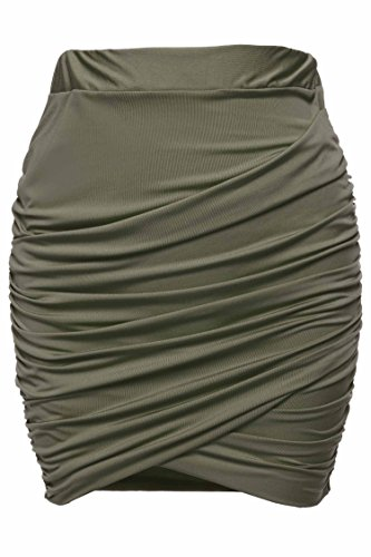 Zeagoo Women Sexy Wrap Runched Stretch Draped Short Mini Pleated Skirts,Army Green,Medium
