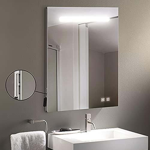 Espejo de pared rectangular modelo Álava de 60x80cm, luz LED frontal de 10W, 2 botones touch, 2 puertos usb integrados y función antivaho. Luz 5700 K de eficiencia energética A+.