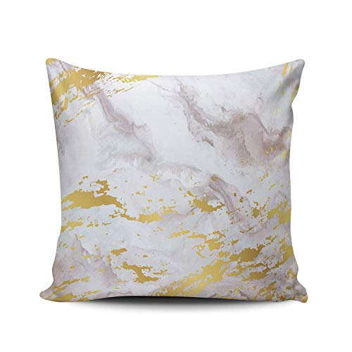 Funda de Almohada Acuarela Resumen Marmoleado Tinta Blanco Oro Plata Gris Arte Algodón Lino Throw Pillow Case Funda de Almohada para Cojín 45x45 cm