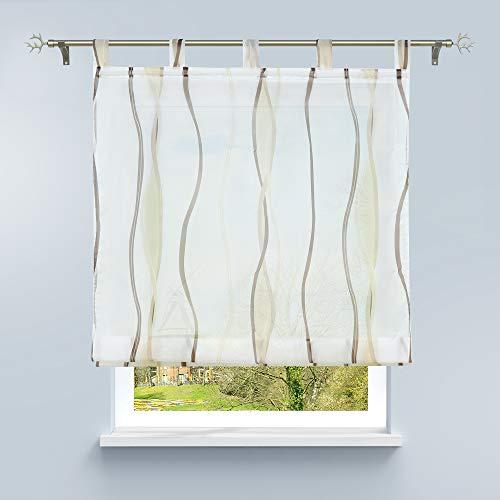 HongYa Raffrollo mit Wellen Druck Transparenter Voile Raffgardine Vorhang mit Schlaufen H/B 140/120 cm Creme Braun