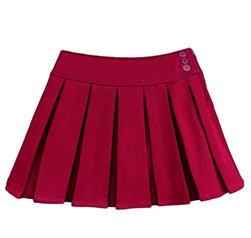 Bienzoe Mädchen Schuluniform Plissee Röcke Rotwein 7