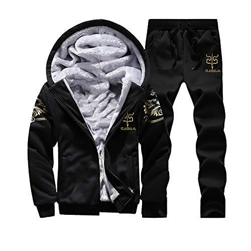 CICIYONER Männer Winter Warm Oben+Hose, Herren Kapuzenpullover Winter Warm Vlies Reißverschluss Sweatshirt Jacke Outwear Mantel Oben Hose Sätze