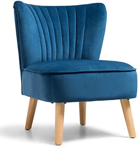 Best Giantex Velvet Accent Chair, Upholstered Modern Sofa Chair w/Wood Legs, Thickly Padded, Armless Wing