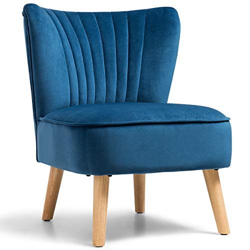 Giantex Velvet Accent Chair, Upholstered Modern Sofa Chair w/Wood Legs, Thickly Padded, Armless Wingback Club Chairs for Living Room Bedroom Furniture (1, Blue)