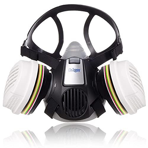 Dräger X-Plore 3300 Semi máscara con filtros de cartuchos A1B1E1K1 Hg P3 R D | Mascara de protección para químicos, vapor, conservantes, pesticidas, herbicidas | Respirador homologado para laboratorio