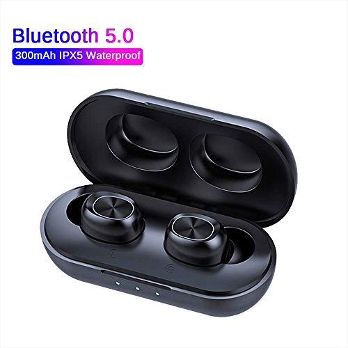 DeniseM117, Bluetooth-Kopfhörer, kabellos, TWS-Kopfhörer, kabellos, Stereo, Sport-Kopfhörer, Mikrofon, Bluetooth, mit tiefem Bass, ideal für Joggen und Training, schwarz