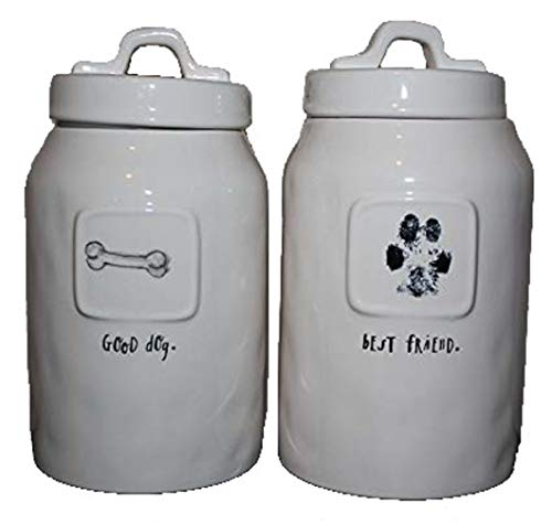 Great Price! Rae Dunn GOOD DOG and BEST FRIEND script written 2 Canisters Set 8 inch Fodd Storage Do...