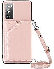 Funda Compatible con Samsung Galaxy S20 FE Cuero con Cuerda Carcasa Case con Correa para Colgar - Cuerda Bolsillo Trasero para Tarjetas para Samsung Galaxy S20 FE,Oro Rosa