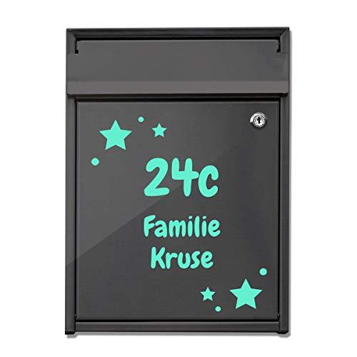 foliado® Hausnummer Familie Name für Briefkasten selbstklebender Aufkleber in Milchglasfolie oder farbige Folie für Haustür Glasdekor Namensschild | Größe bis 15 cm | #APD-016B