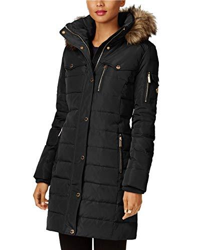 Michael Kors Faux Fur Trim Down Puffer Coat-Black-S